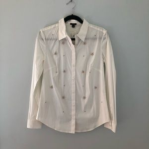 NET Ann Taylor beaded white button up